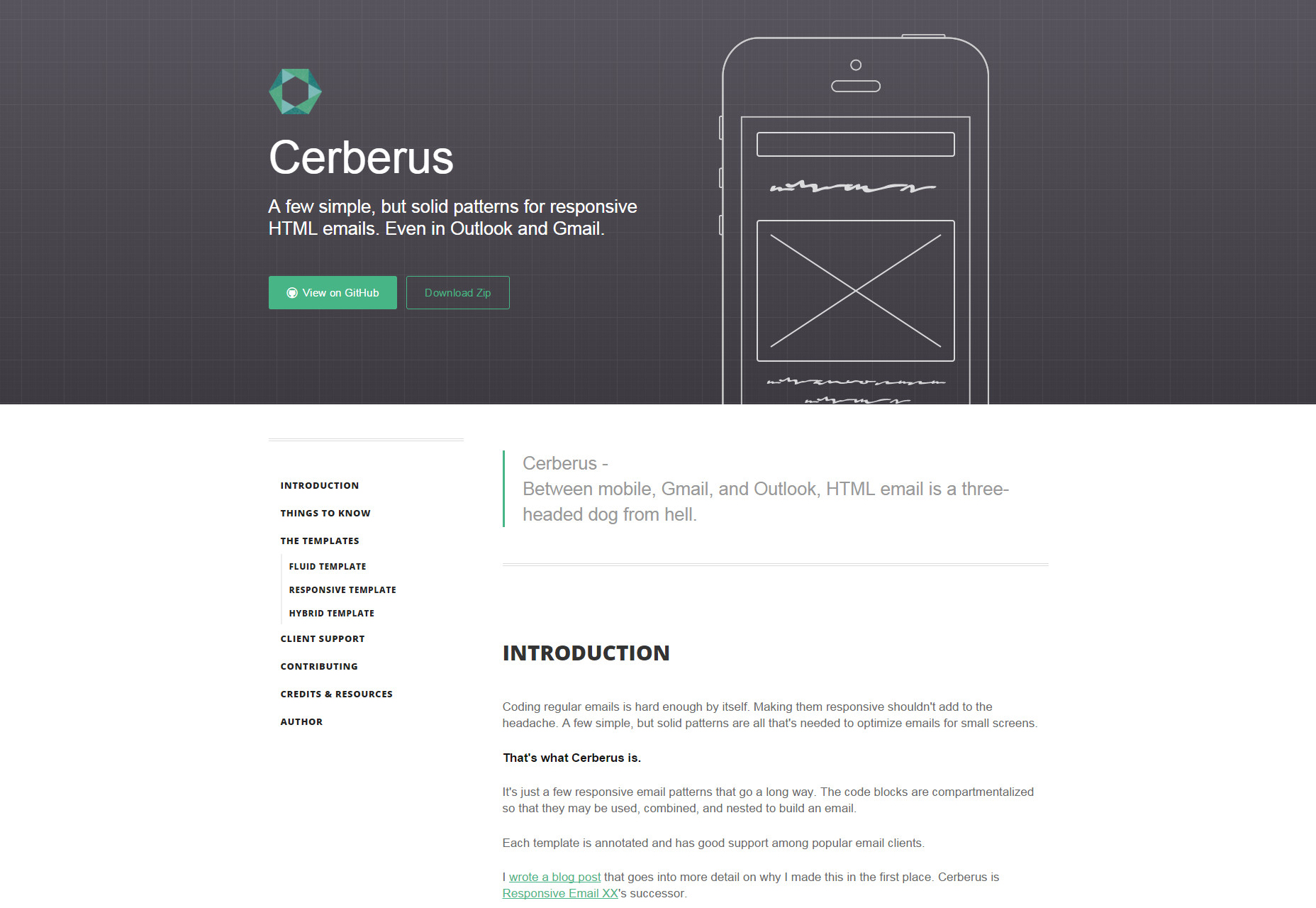 Cerberus: Patterns for Responsive HTML Email Templates