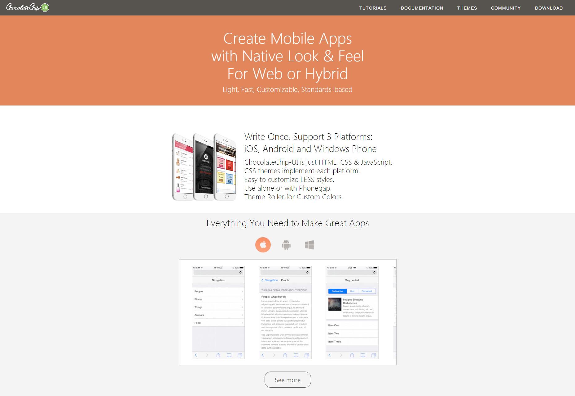 ChocolateChip-UI: Hybrid & Mobile App Framework