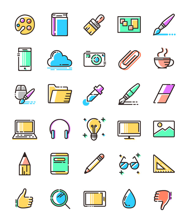 3.Colored Line Icons