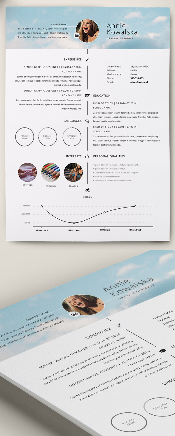 Free Professional CvResume And Cover Letter Psd Templates  Idevie
