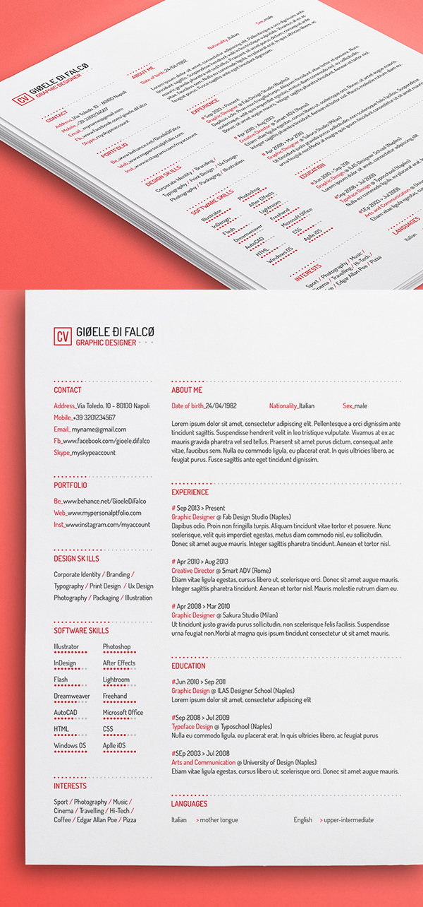 Free Clean Resume Template (3 Colors)