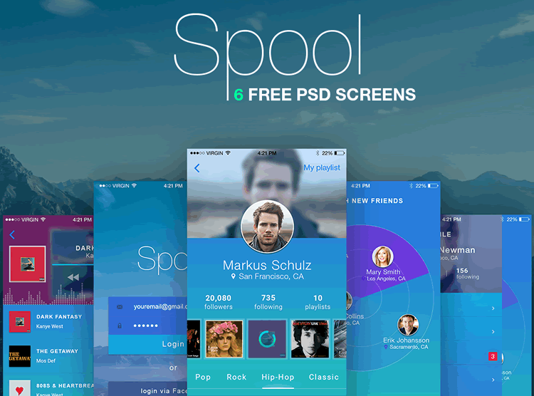 Spool Mobile UI Kit 6 Screens PSD Format Sergey Melnik