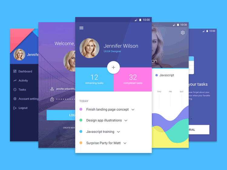Mobile App Material UI Templates 5 Screens PSD Format Epic Pxls