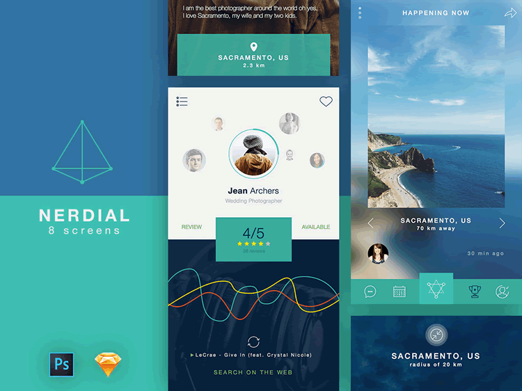Nerdial App UI Kit 8 Screens PSD Free Sketch Formats uiSurf