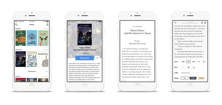 iOS Book Reader App UI 4 Screens Sketch Format Tilda