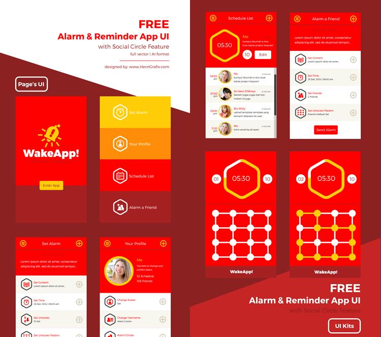 Alarm freebie Reminder Mobile App UI 8 Screens AI free EPS Formats HevnGrafix