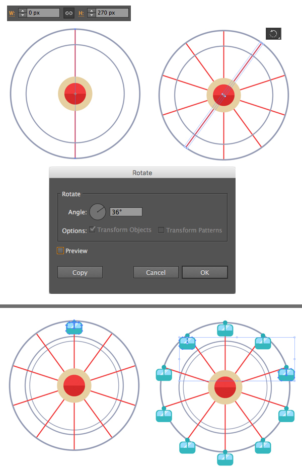 add spokes with line segment tool