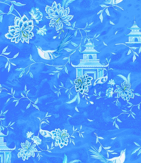 Tea House Chinoiserie style textile design
