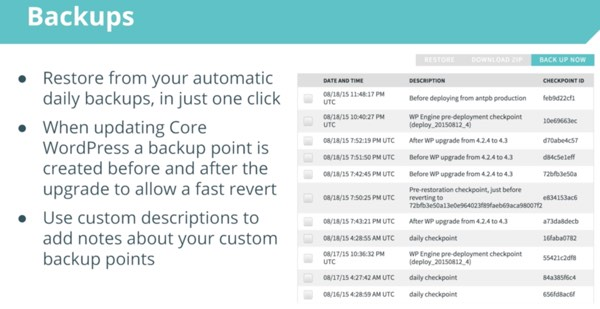 WP Engine Backups and One Click Restore