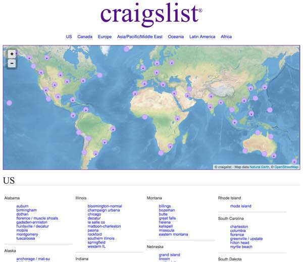 The Craigslist Global Network by Sub-domain