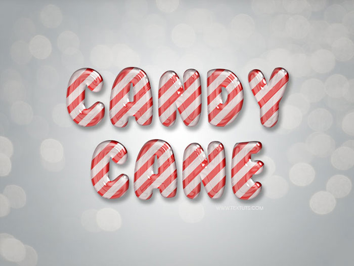 Glossy Candy Cane Text Effect