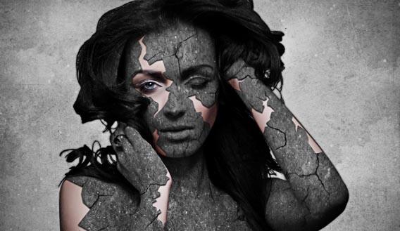 Grunge Stone Woman Photo Manipulation in Photoshop