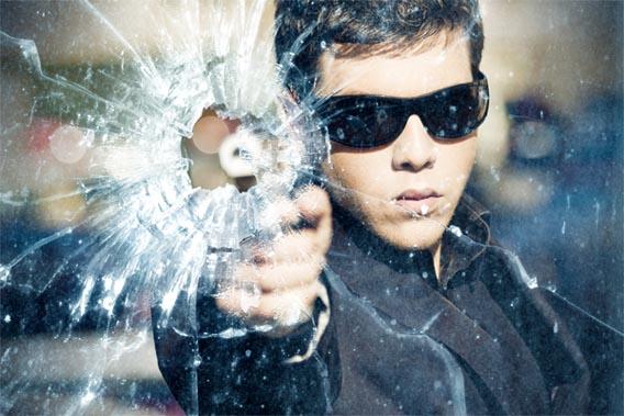 Gunshot Through a Glass