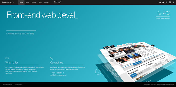 John Kavanagh HTML5 and CSS 3 inspiration showcase site