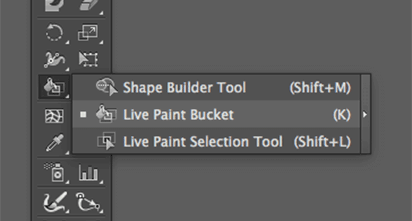 Live Paint Bucket menu