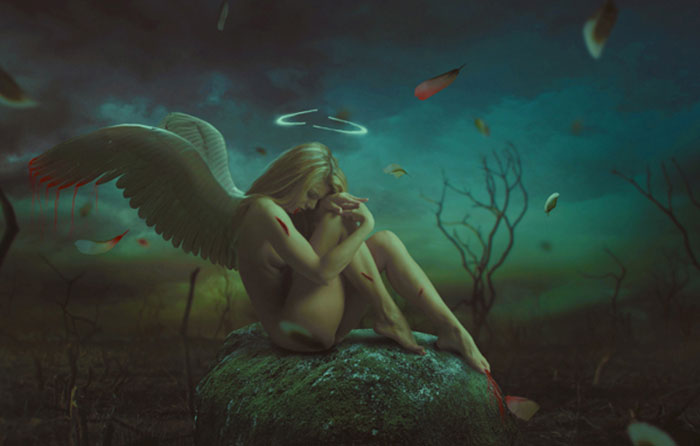 Photo Manipulate a Dark, Emotional Fallen Angel Scene
