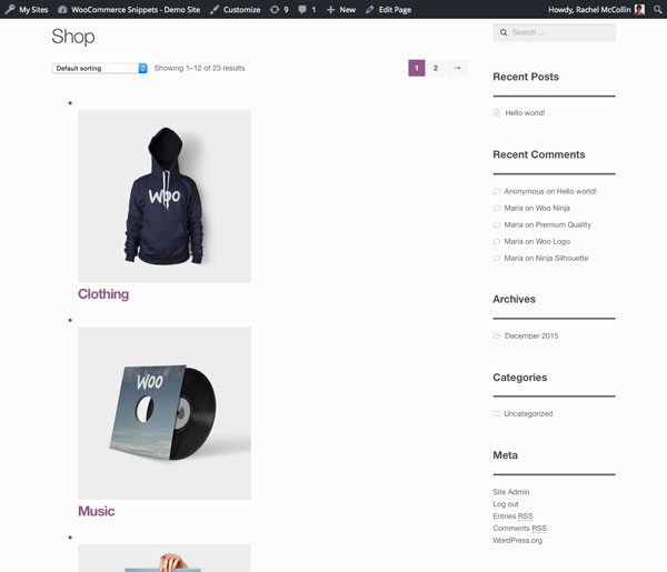 Main shop page - categories are separate but too big and with list styling bullets etc