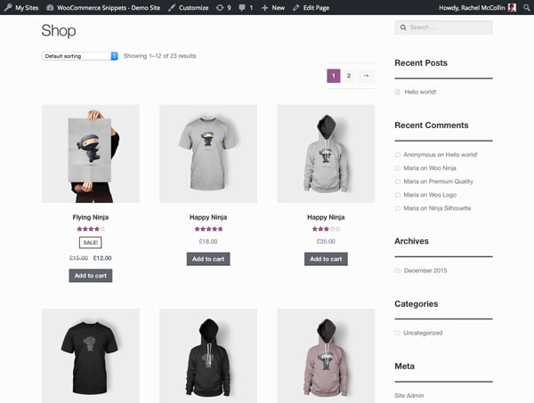 The main shop page with just products displayed