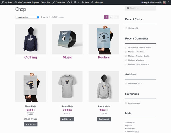 The main shop page Categories are above products and styled consistently in a grid