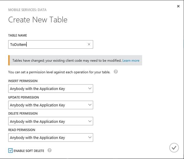 Create a New ToDoItem Table
