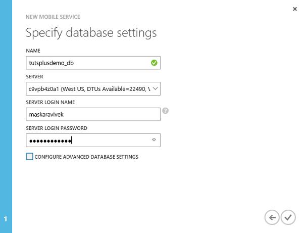 Specify Database Settings