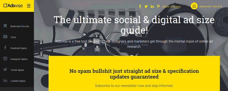 Adsvise ultimate social digital ad size guide