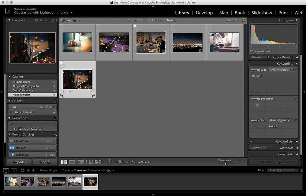 Setting a Picked flag in Lightroom