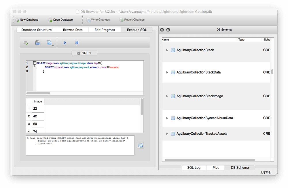 Nested queries in sqlitebrowser