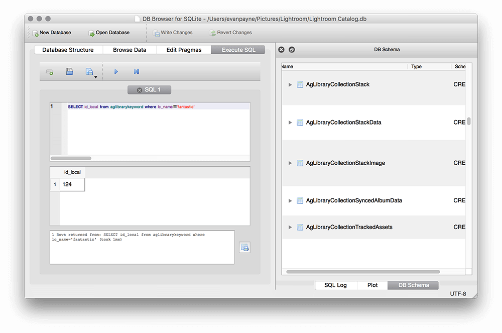 Executing a query in sqlitebrowser