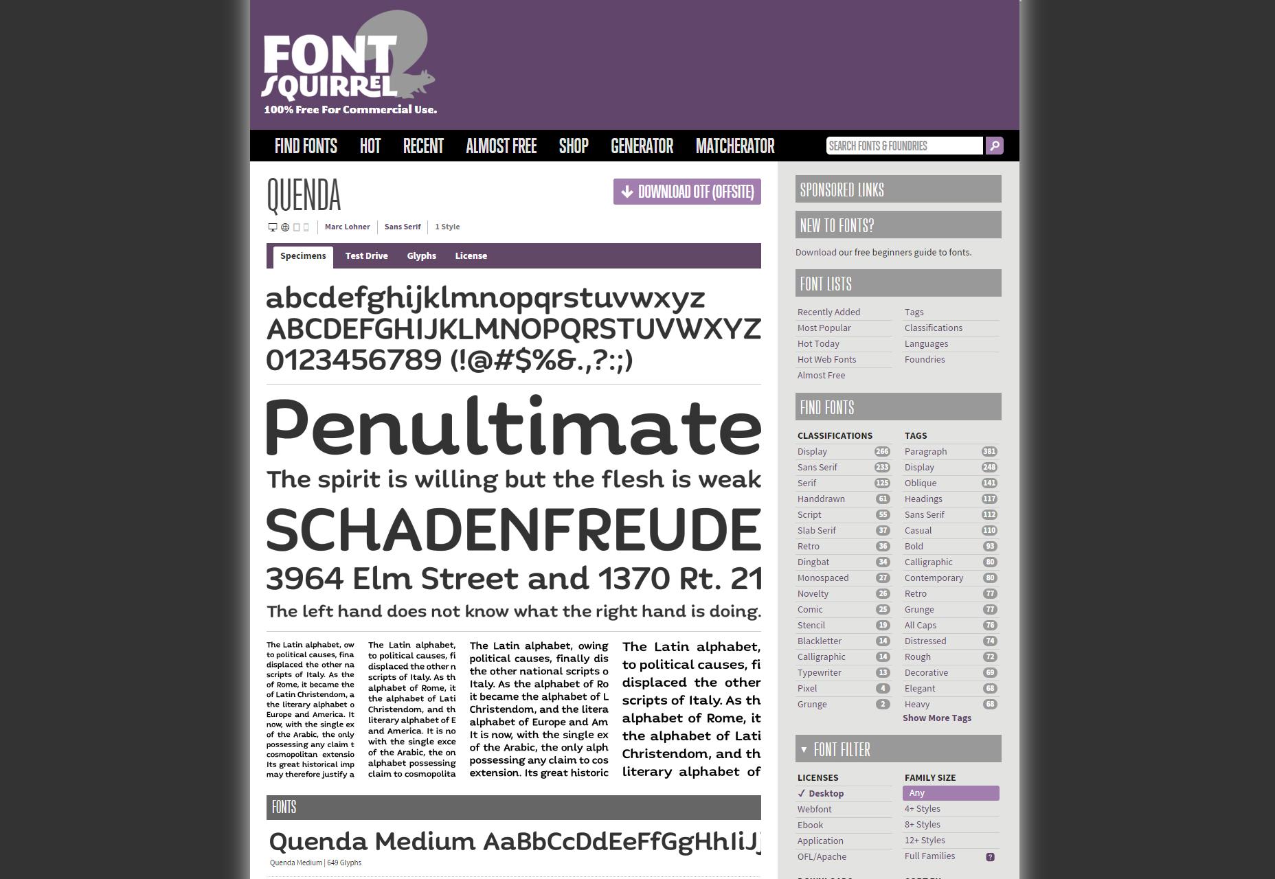 Quenda: 6-Weight Sans-Serif Font