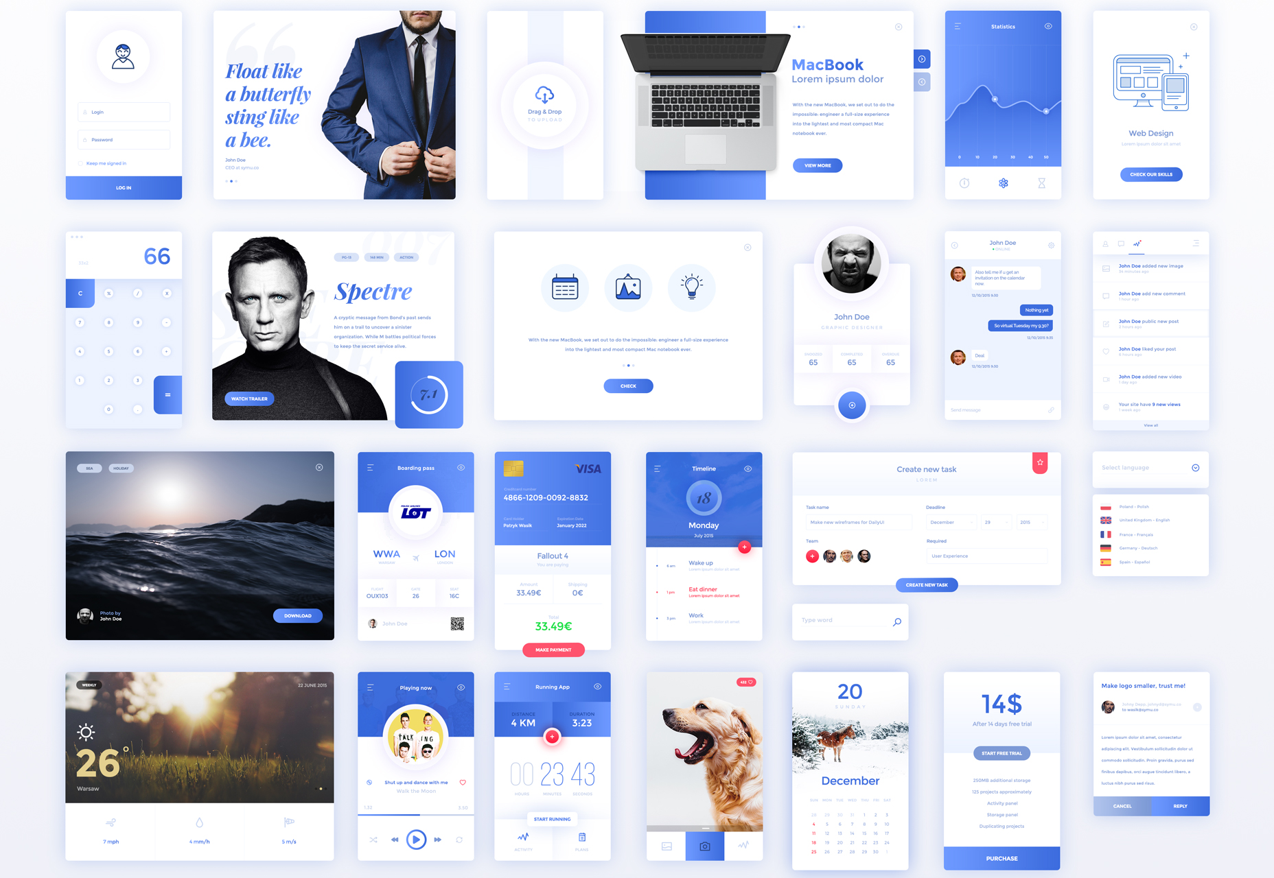 Winter Inspired Mobile UI Kit