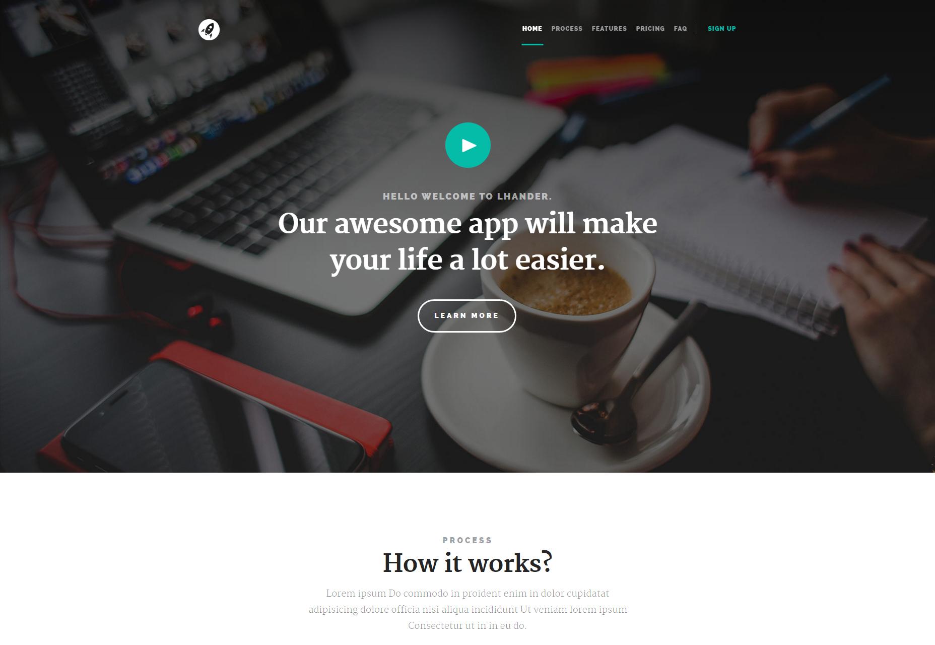 Lhander: Modern  Landing Page HTML Template