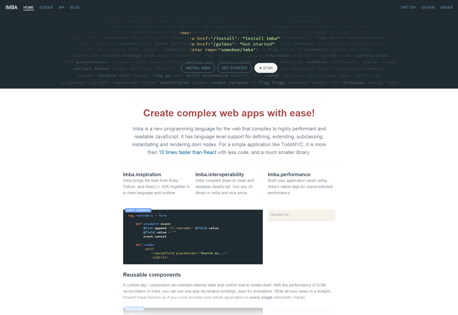 Imba: Easy Web Applications Language