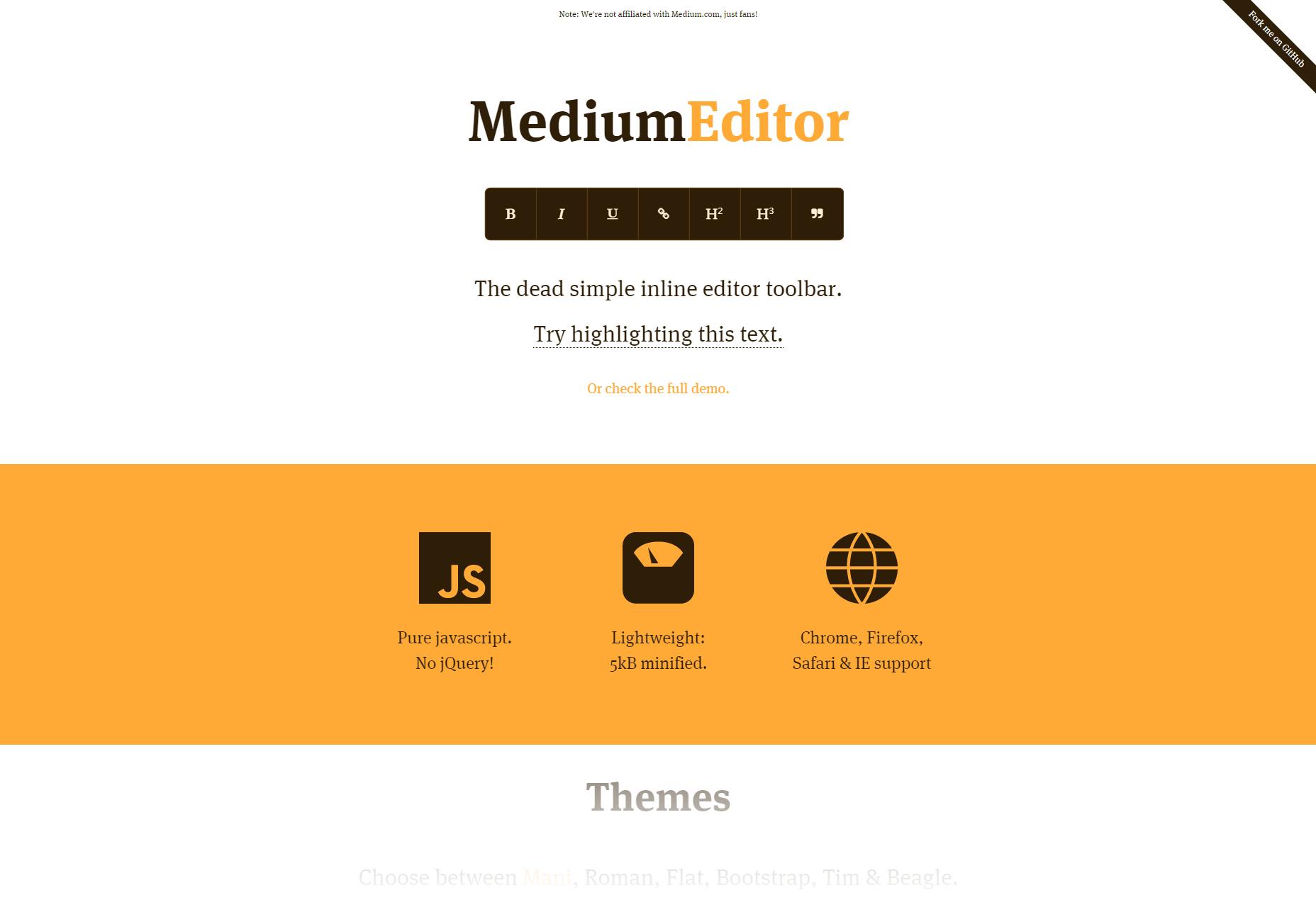 MediumEditor: Inline Text Editor Toolbar
