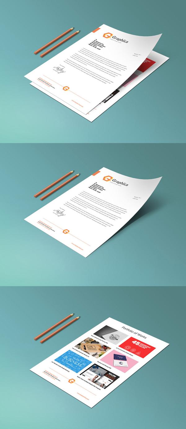 Free Letterhead And Paper Portfolio Mockup PSD