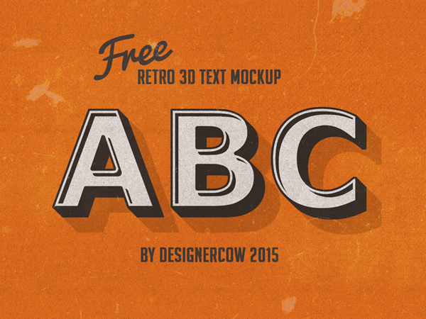 Free PSD Retro 3D Text Mockup