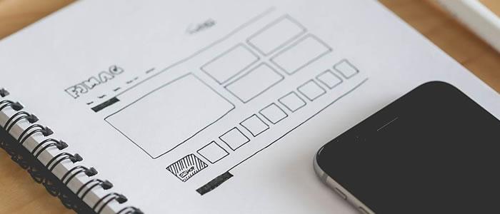 grid layout web design sketch paper