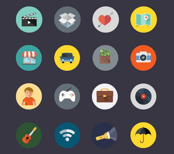 Colorful Flat Icon Set