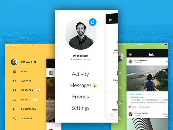 Bright and modern iOS menus