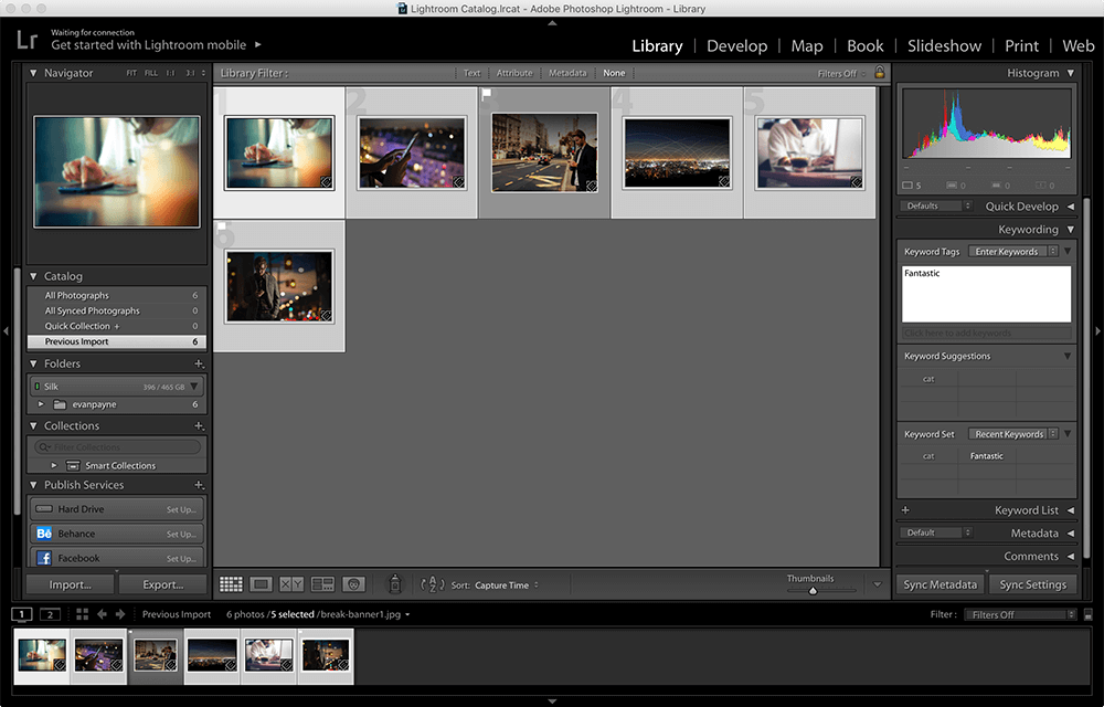 Tagging photos with keywords in Lightroom