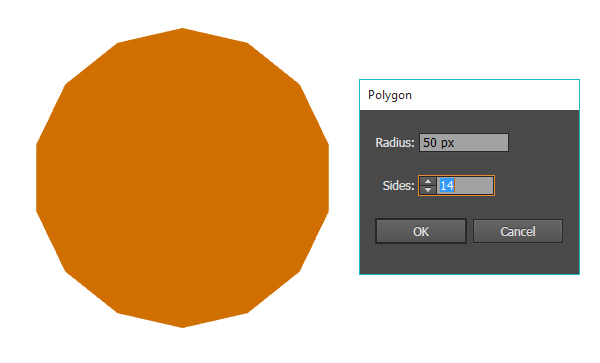 Draw a 14 sided polygon with the polygon tool