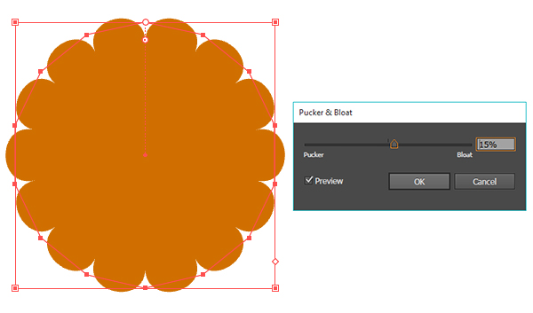 Transform the polygon into a softened flower shape to form a tart