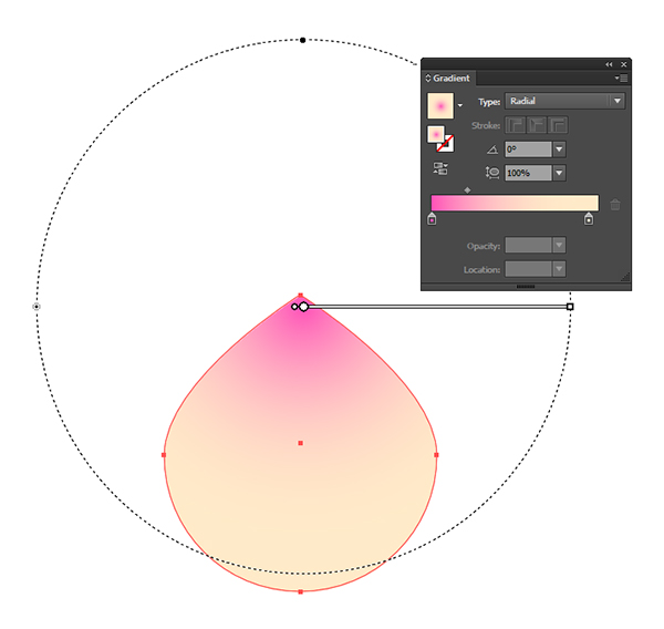 Apply a radial gradient to the peach bun object