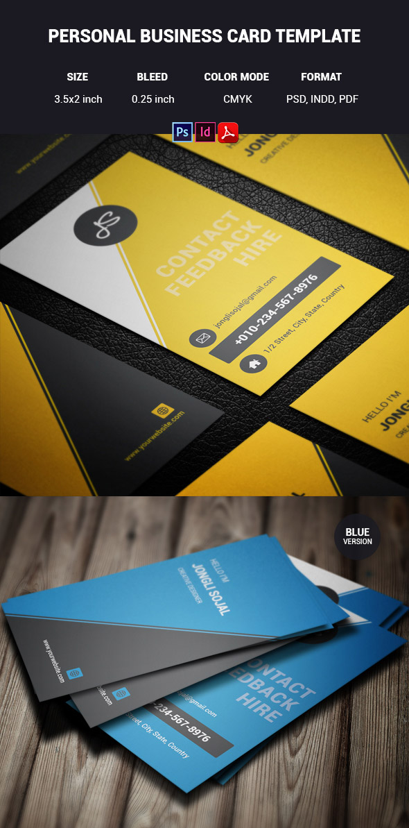 Personal INDD PDF PSD Format Business Card Template
