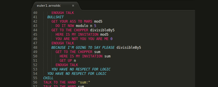 ArnoldC programming language based one-liners of Arnold Schwarzenegger