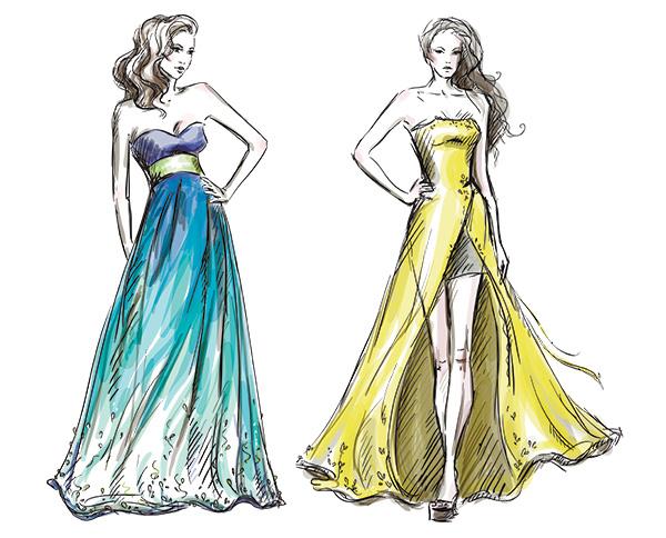 Fashion Illustration Long Dress Catwalk