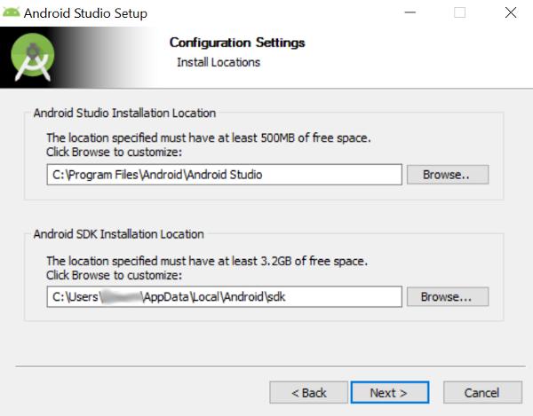 Android Studio Install Location Configuration Screen