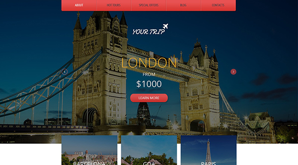 10. free html5 template for a travel blog