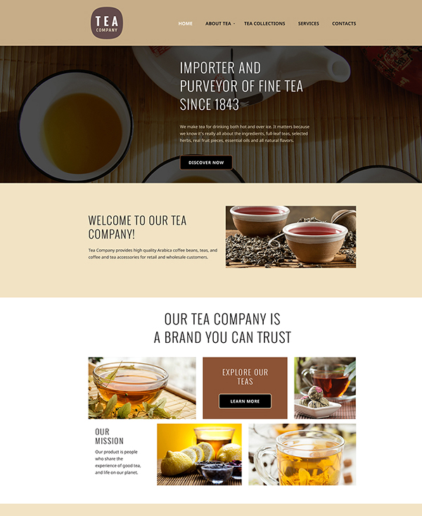33. 1 html5 template for a tea company