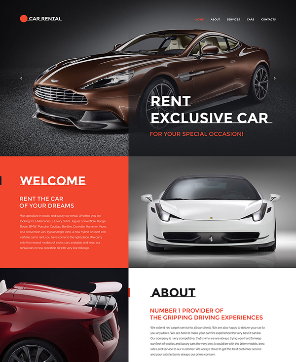 45. 1 car rental html5 website template